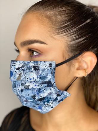 Máscara facial reutilizável Certificada Adulto Padrão Azul