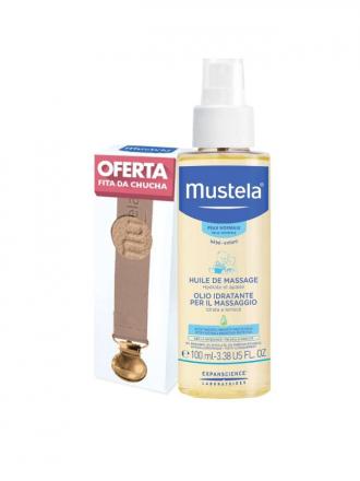 Mustela bebé Óleo de Massagem 100 ml com Oferta Fita para Chupeta Rosa
