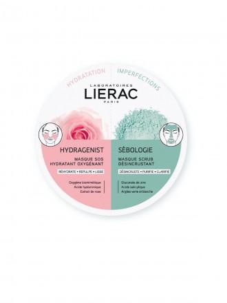 Lierac Duo Mask Hydragenist Máscara SOS Hidratação Oxigenante & Sebologie Máscara Exfoliante Desincr