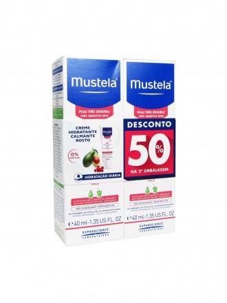 Mustela Bebé Duo Creme Hidratante Calmante Facial Sem Perfume 2 x 40 ml