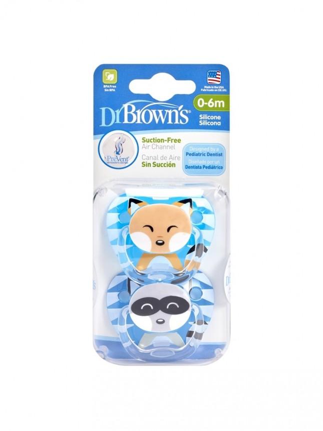Dr Browns Chupeta Prevent Animais Menino em  Silicone 0+ meses (2 chupetas)