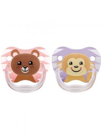 Dr Browns Chupeta Prevent Animais Menina em  Silicone 6 a 12 meses (2 chupetas)