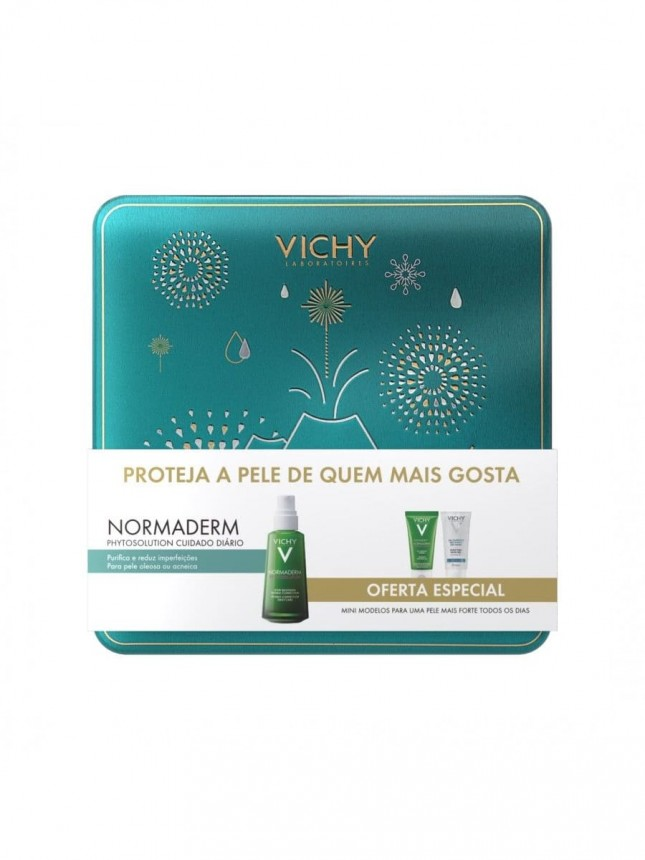 Vichy Coffret Normaderm Phytosolution Dupla Ação 50ml + Gel Limpeza Purificante 50ml + Gel hidroalco