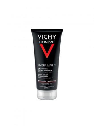 Vichy Homme HydraMag C Gel de Duche Hidratante Revigorante para Corpo e Cabelo 200 ml