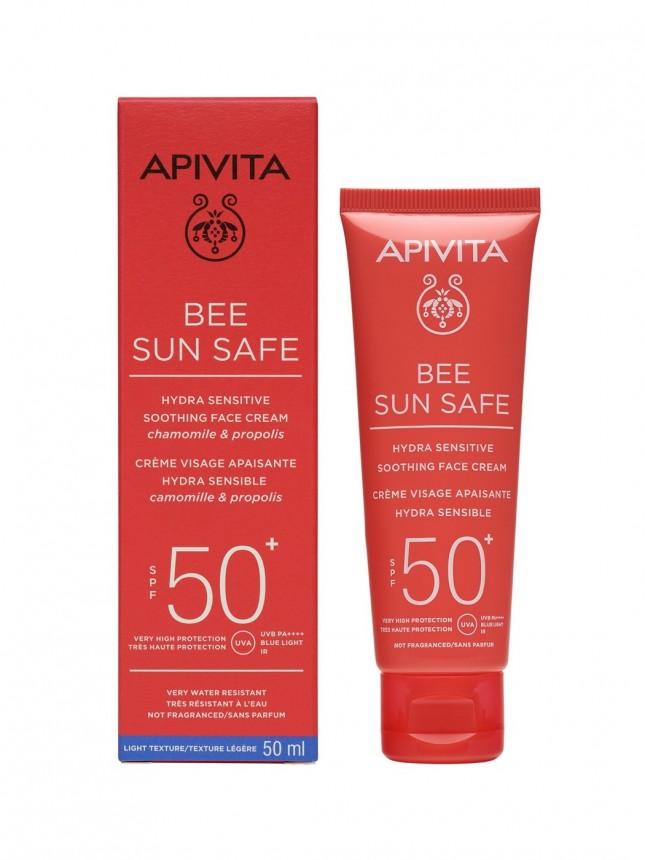 Apivita Bee Sun Safe FPS50+ Creme Protetor Solar de Rosto para Pele Sensível 50 ml