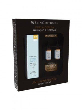 Skinceuticals Coffret Protect Oil Shield UV Defense Protetor Solar em Creme Toque Seco SPF50 30ml co