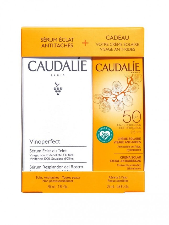 Caudalie Coffret Vinoperfect Serum com Oferta de Creme Protetor Solar Antirrugas de Rosto SPF50 25ml