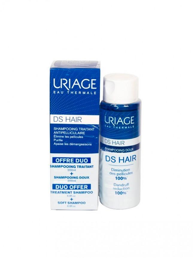 Uriage DS Hair Duo Champô de Tratamento Anticaspa 200 ml + Champô Suave de Uso Frequente 200 ml